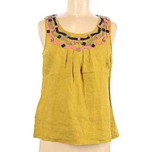 BODEN chartreuse linen tank blouse S (E9)